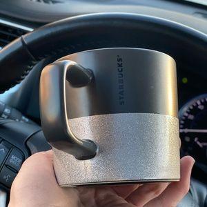 Starbucks Black Matte Silver Glitter Mug
